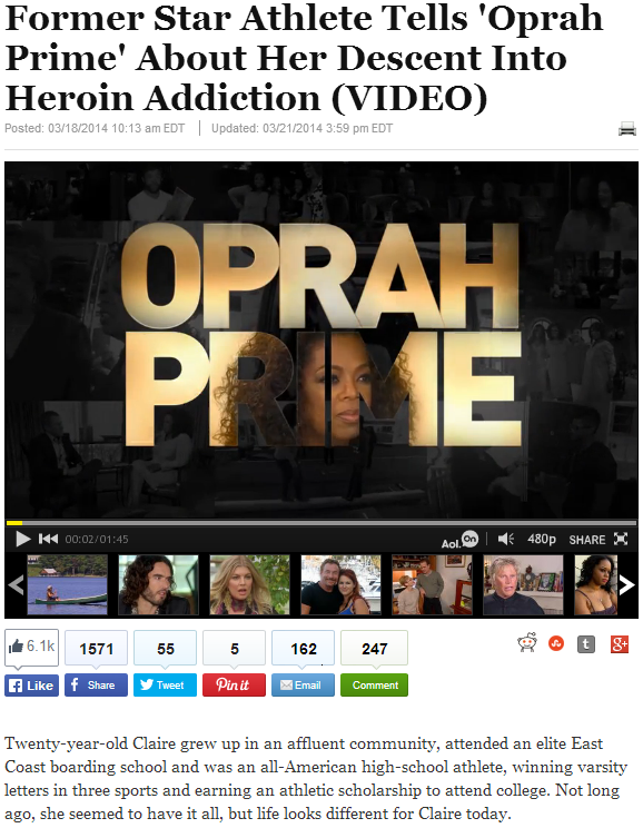 former star athlete tells oprah prime about her descent into heroin addiction